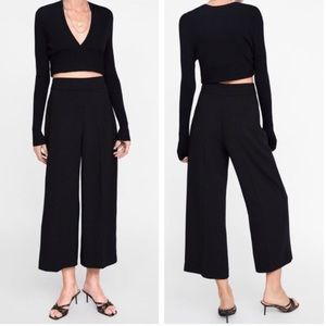 Zara High waisted cropped wide leg pants ✨
